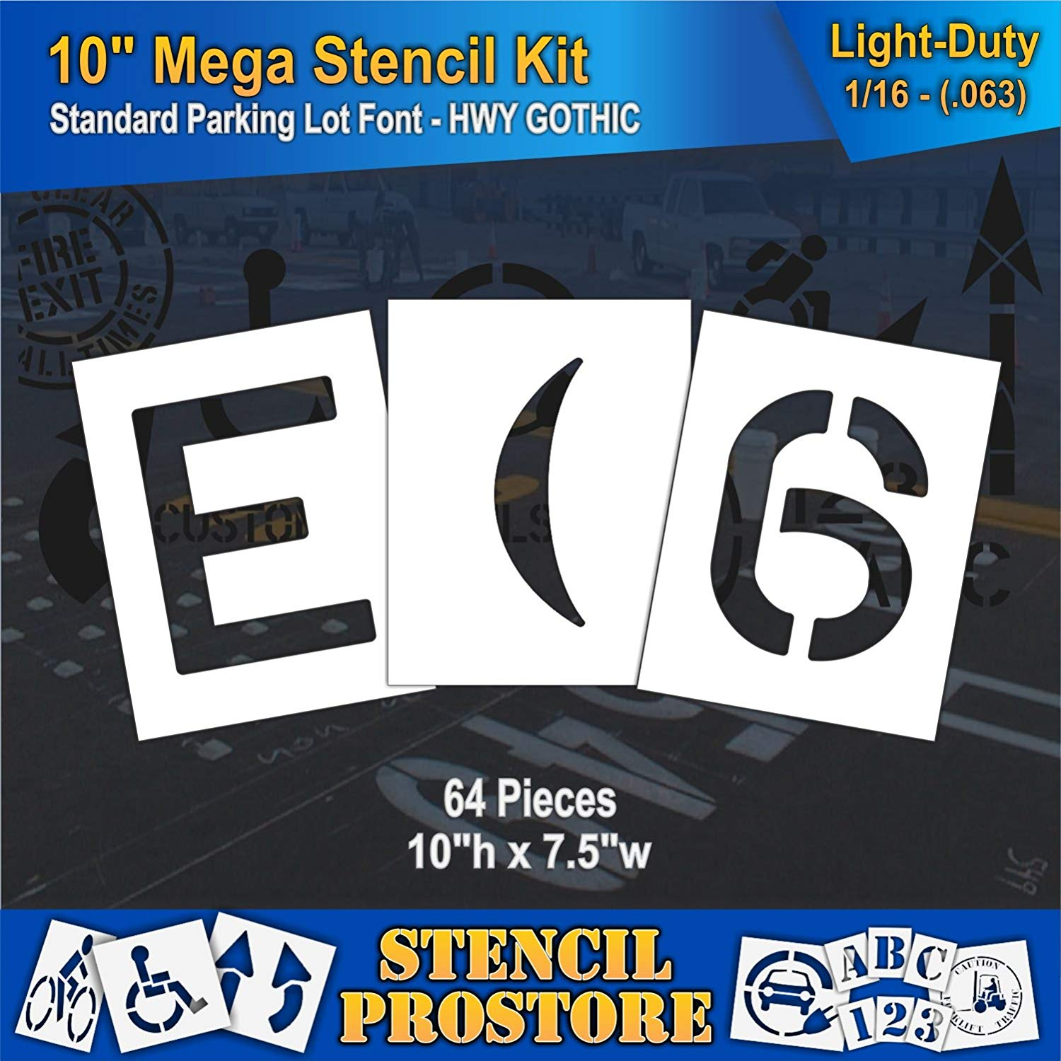 "Pavement Stencils -10 inch MEGA ALPHA/NUM SET - (64 Piece) - 10"" x 7.5"" x 1/16"" (63 mil) - Light-Duty"