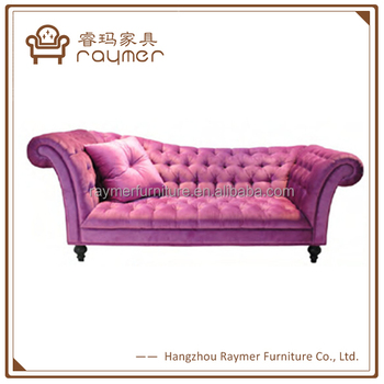 Classic french pink velvet button tufted wedding chaise for Button tufted chaise settee velvet