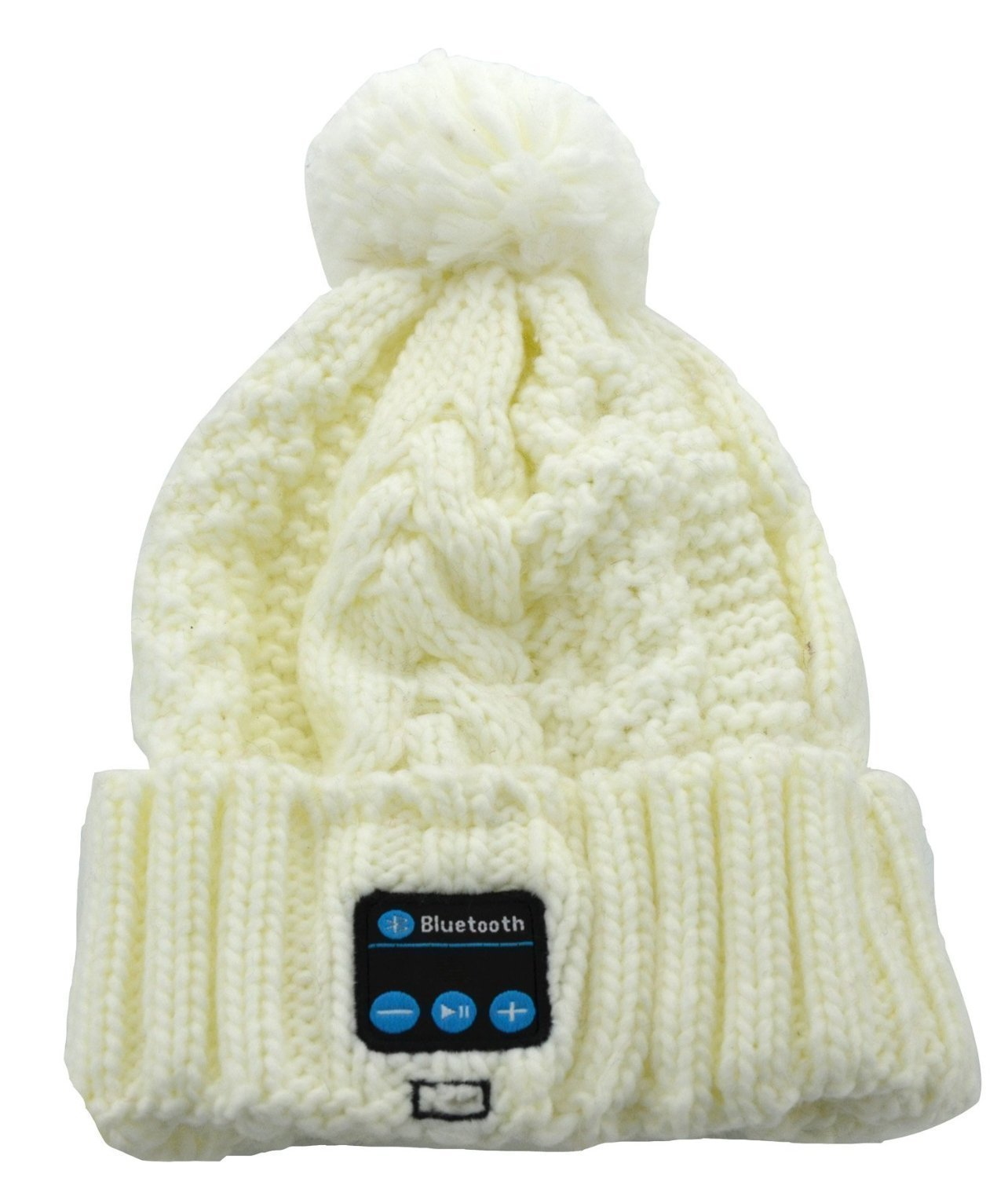 BearsFire® Wireless Bluetooth Music Hat Knitted Winter Hat Magic Hat Headphone Headset Earphones MP3 Speaker Music Player Hands-free Hat Women/Men Winter and Spring Warm Hats Beanie Hat (White)