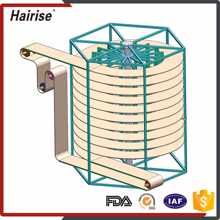 High quality stainless steel screw Steel Cord Spiral Cool Conveyor Belt