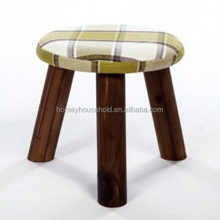 Living Room Furniture Wooden Kids Foot Stool ,Wood Fabric Ottoman