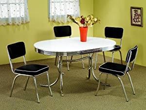 7pc White & Chrome Retro Oval Table & Black Chairs Set