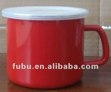 red color enamelware mug of 9cm with PP lid