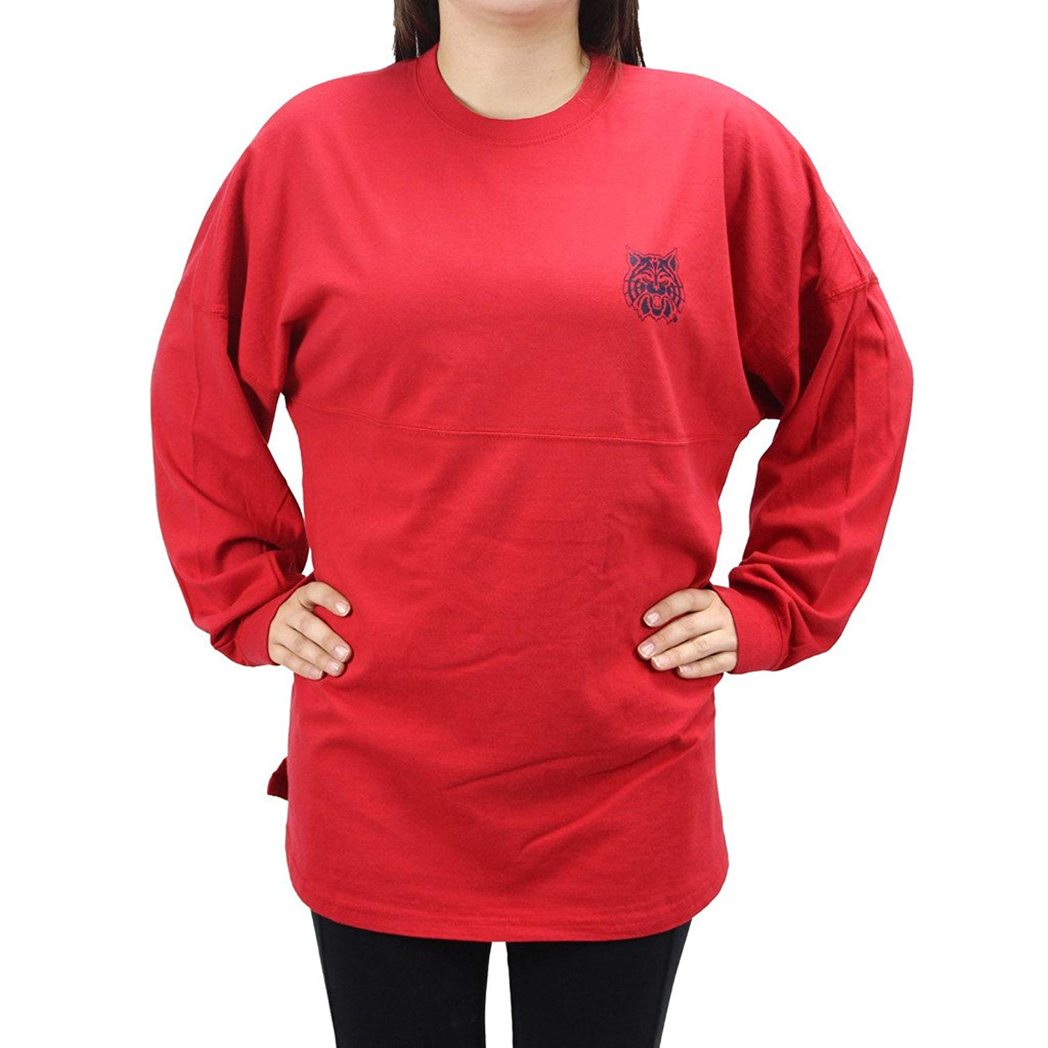 Get Quotations · Pressbox Women  s NCAA Arizona Wildcats Varsity Jersey  Sweeper Oversized Shirt b7ade7e64