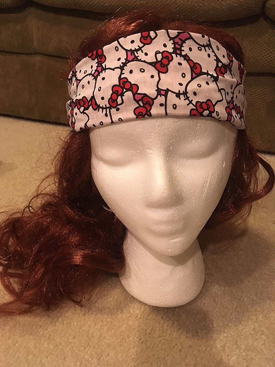 42a302a26 Get Quotations · Pink & White Hello Kitty Handmade Headband, Cute  Reversible 2-in-1 Sweatband