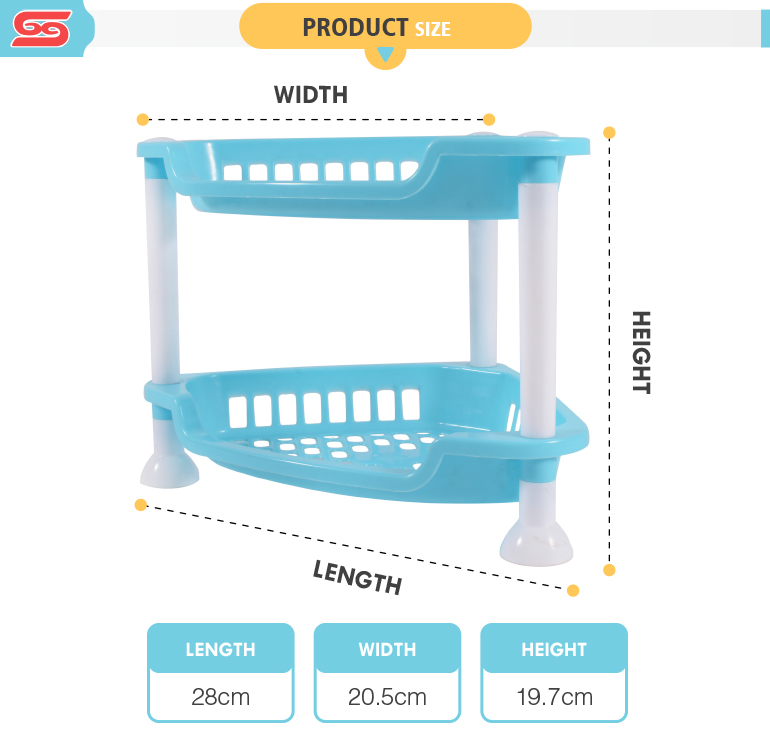2-layer multifunctional spices kitchen plastic storage rack for home