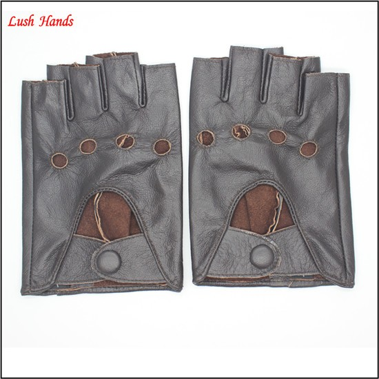 ladies fingerless dark brown fitness leather hand gloves