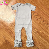 Fall Boutique Kids Triple Ruffle Jumpsuit Bodysuit Short Sleeve Long Leg Cotton Baby Girl One Piece Romper Icing Ruffle