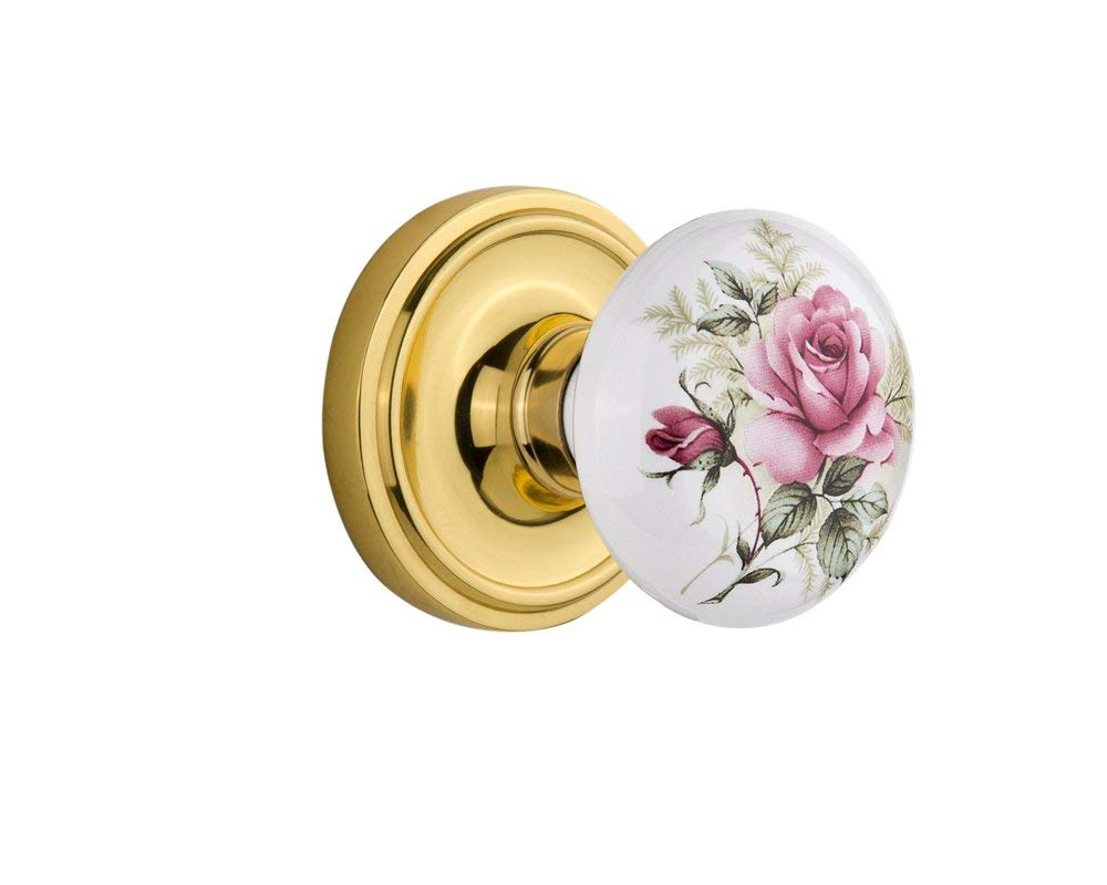 "Nostalgic Warehouse Classic Rosette with Rose Porcelain Door Knob, Passage - 2.75"", Polished Brass"
