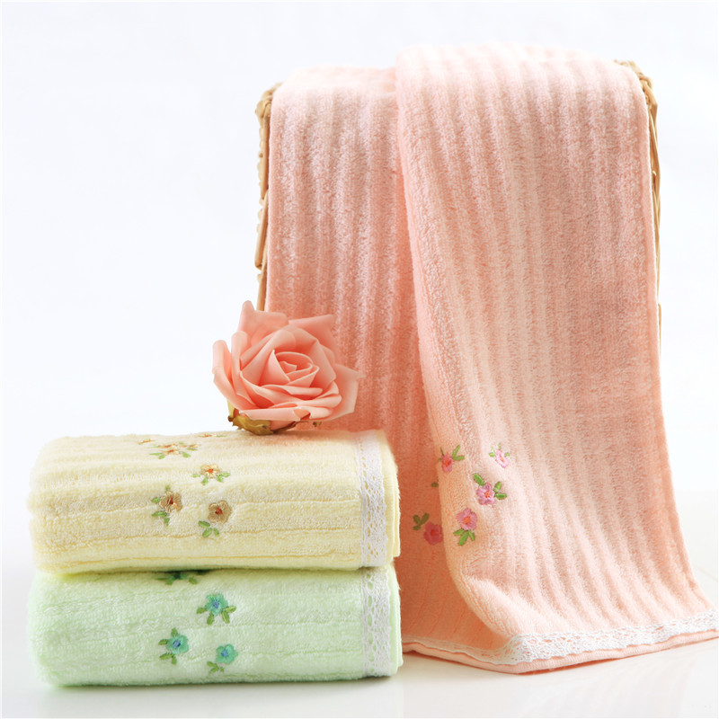 China factory direct sale streak floral embroidery hem lace face towel