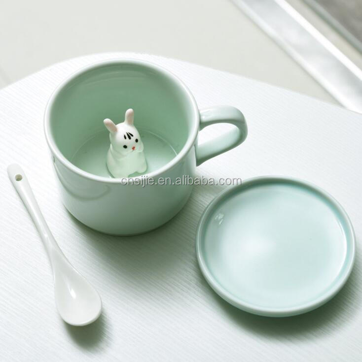 Stereo 3D Cute Animal Design Ceramic Coffee Mugs with Lid
