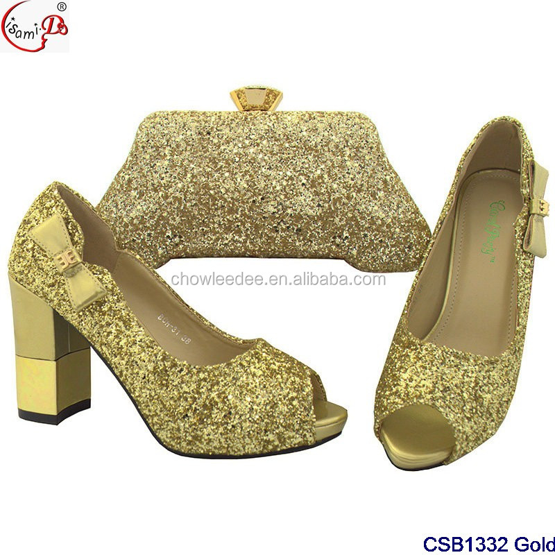 set CSB1332 and shoes women nigeria design wedding shoes bag Fancy african bag 2018 set Gold and W8ZqpTOnxw