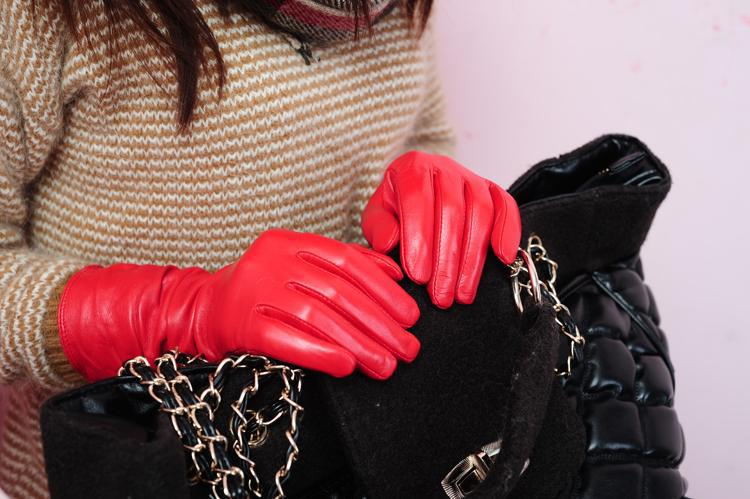 Ladies fashion red long leather gloves
