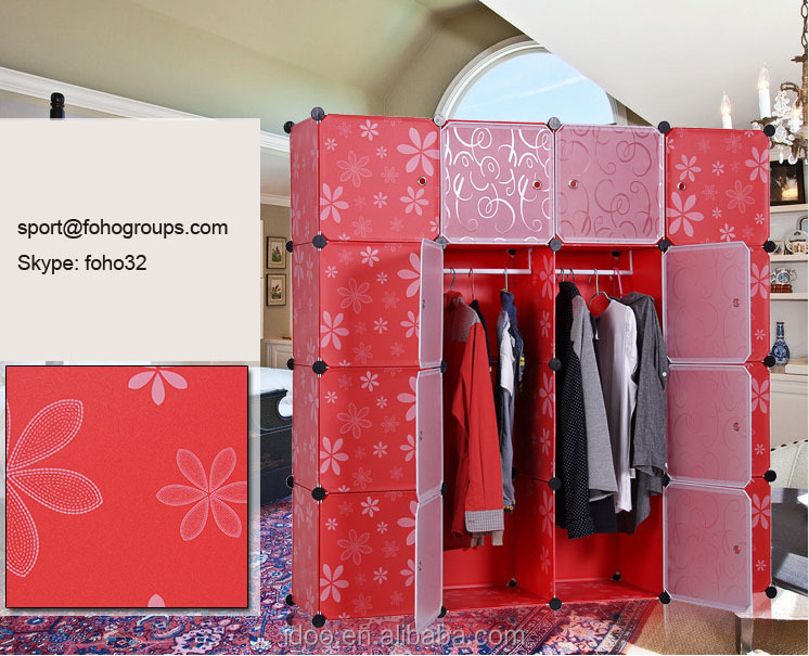Eco-Friendly material with PP plastic wardrobe garderobe in India (FH-AL0052-16 )