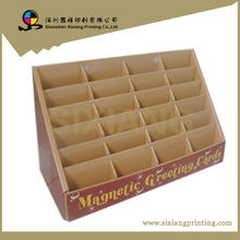 Supply High Quality Cardboard 24 Bays Magnetic Greeting Cards Counter Display