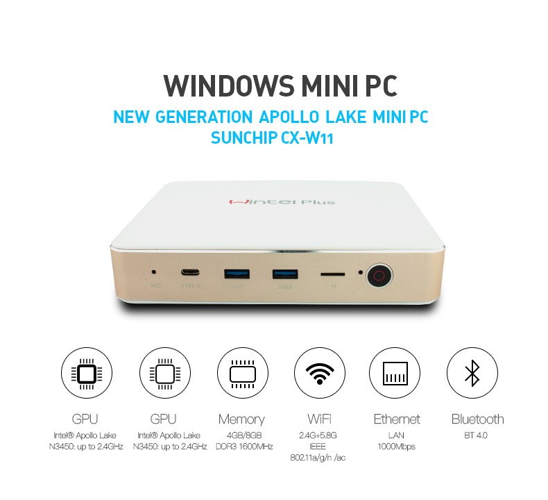 CX-W11 Alibaba Express Intel Apollo Lake N3450 HDD 1000M 4GB Ram 32GB Rom Win 10 Dual Band WiFi Portable MINI PC With License