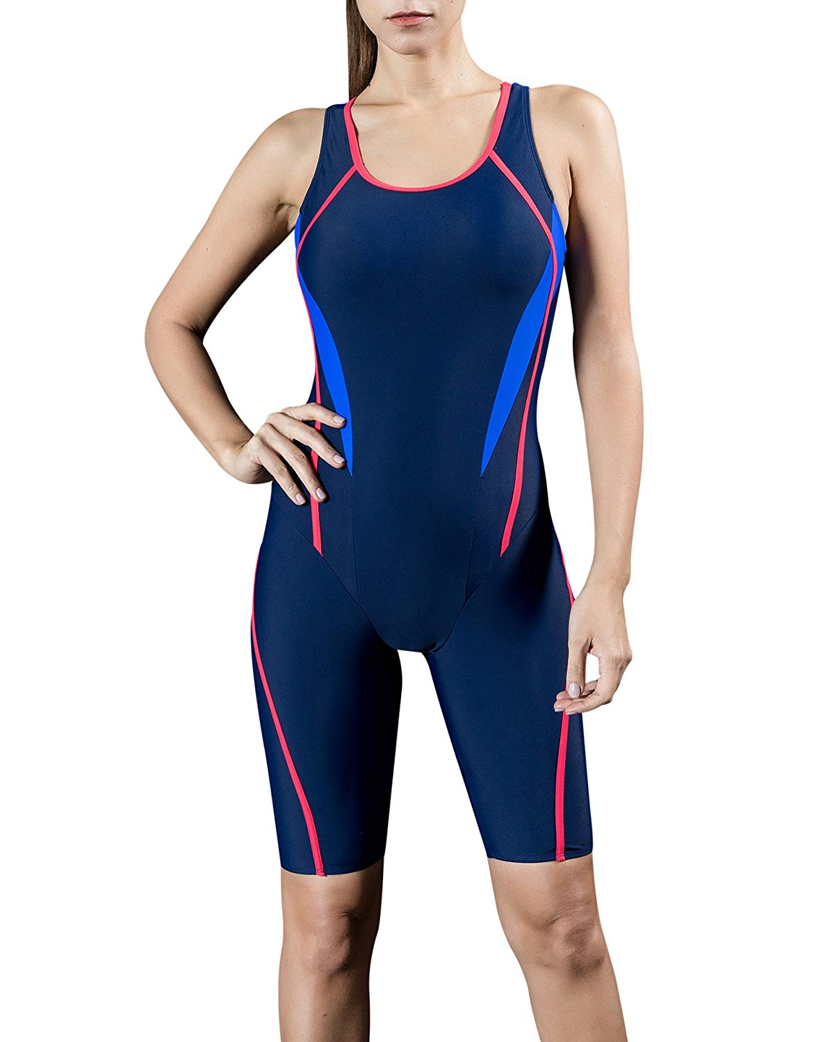 d470a186230c1 Get Quotations · Uhnice Women Unitard Swimwear Surfing Suit Sports One Piece  With Shorts Swimsuit
