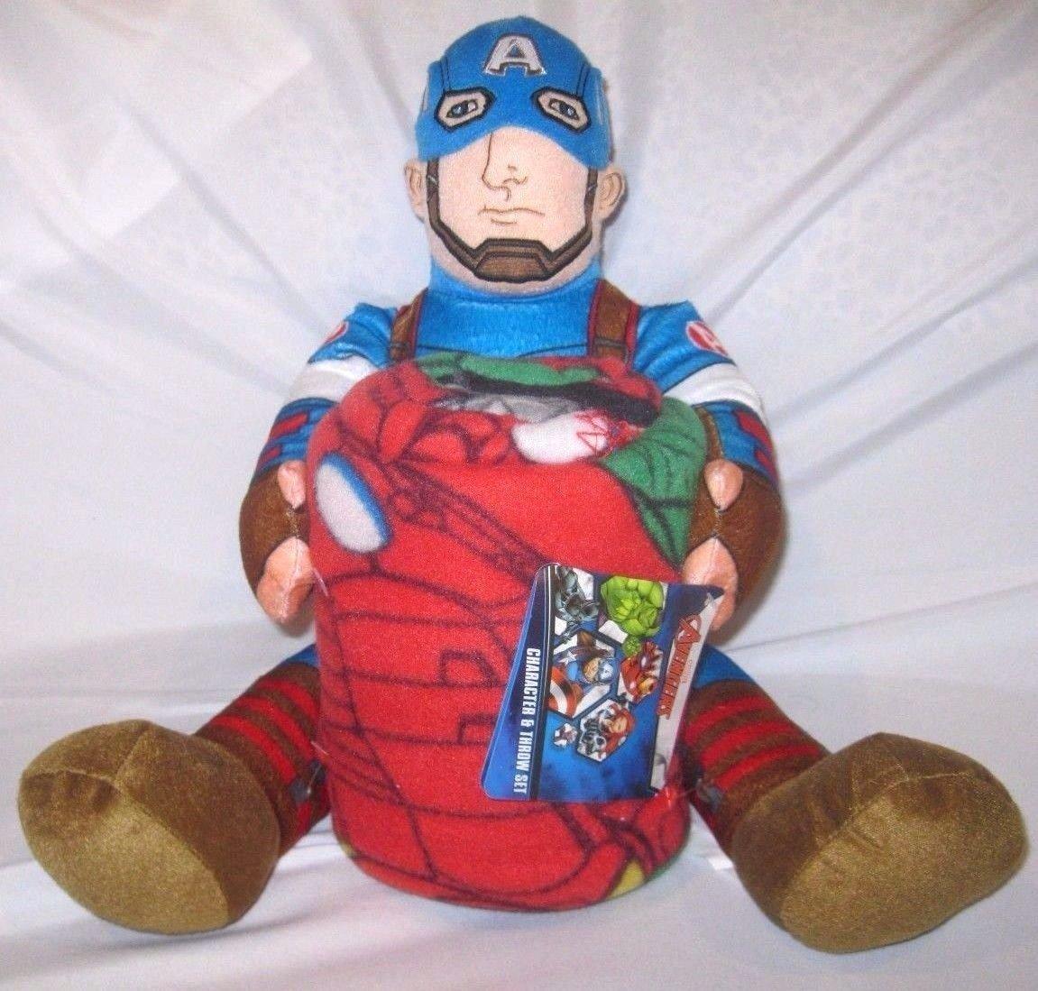 "Granny's Best Deals (C) Marvel 18"" Captain America Plush + 40"" x 50"" Avengers Throw-Licensed Product-New!"