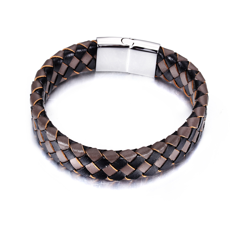 2016 Fashion Jewelry Silver Titanium Steel Mens Rope Bangles Black&Brown Leather Braided Cuff Bracelet