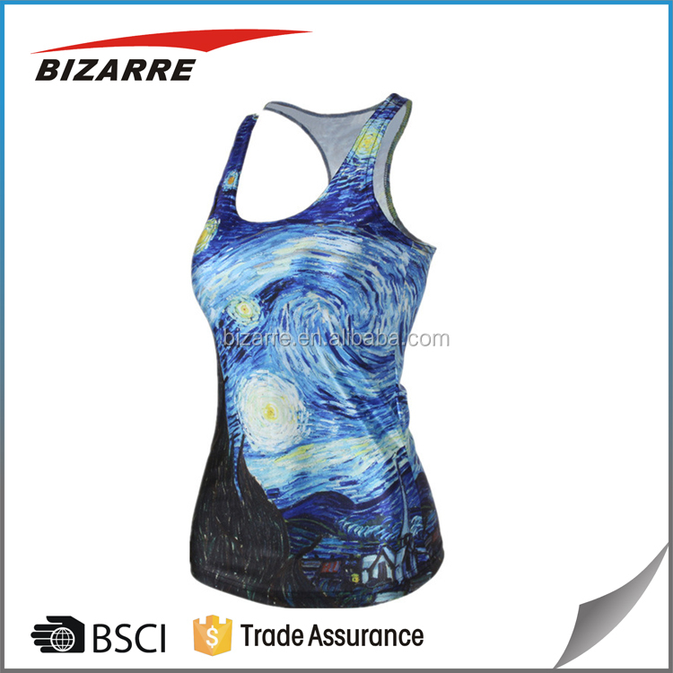 2016 Fashion Lady/Women's SUMMER 3D printing sublimation singlet