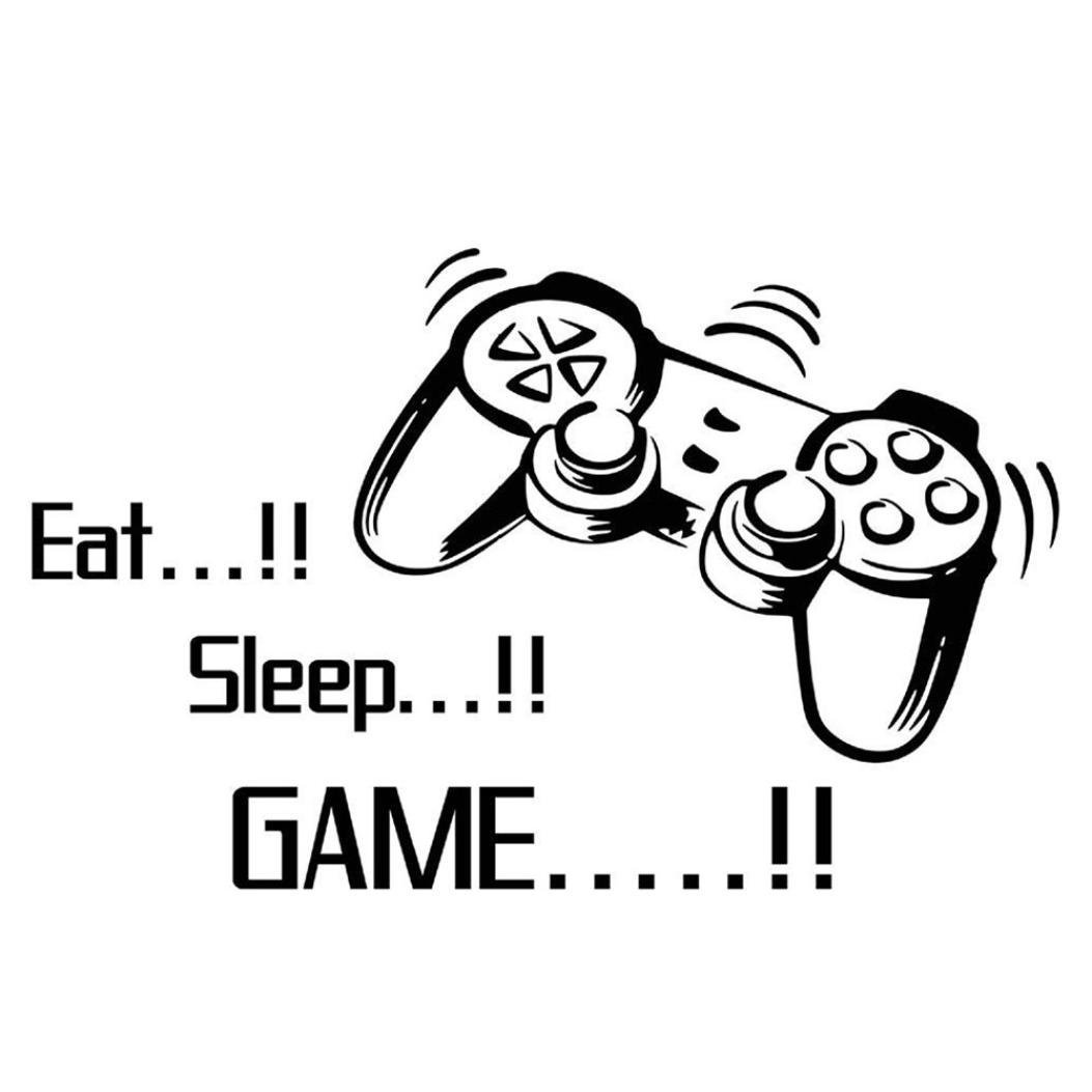 Rumas Eat Sleep Game Wall Stickers Boys Bedroom Letters Print DIY Rooms Decoration Art
