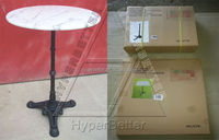 Customized wrought iron table with marble top