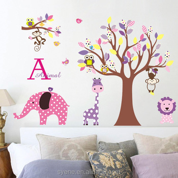 syene cartoon animals kids 3d wall stickers kids room online india