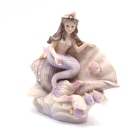 Decorative cheap miniature resin mermaid figurines sitting on shell