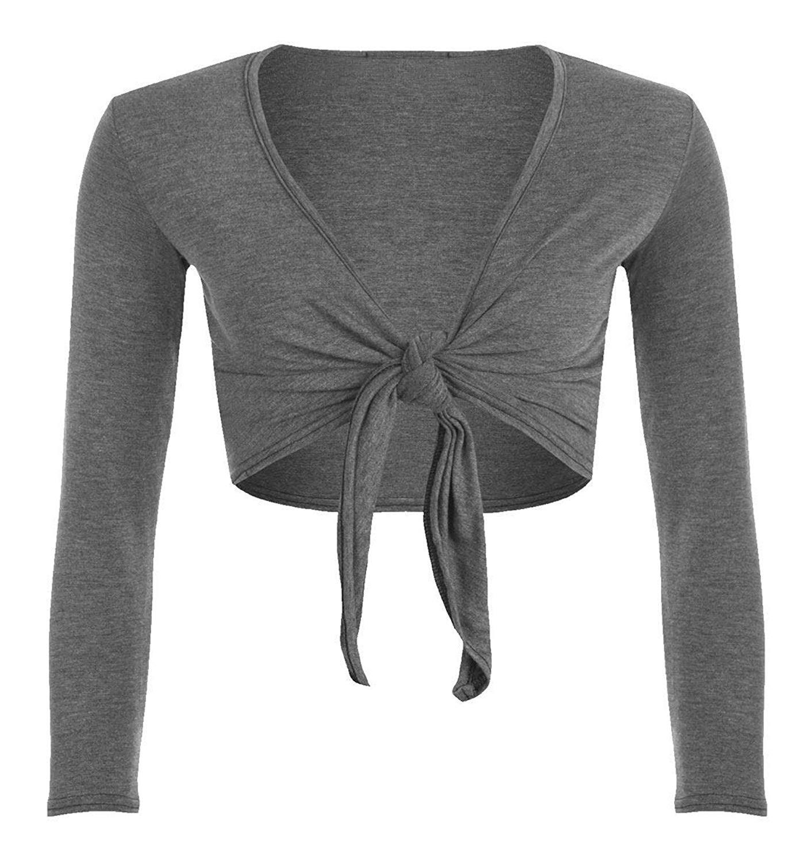 FASHION FAIRIES Ladies Tie up Front Cropped Shrug Womens Plain Long Sleeve Bolero Cardigan Top