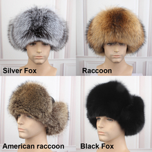 Woman and man fashion new fox fur russian hats with satin lining round top unisex winter cap hats