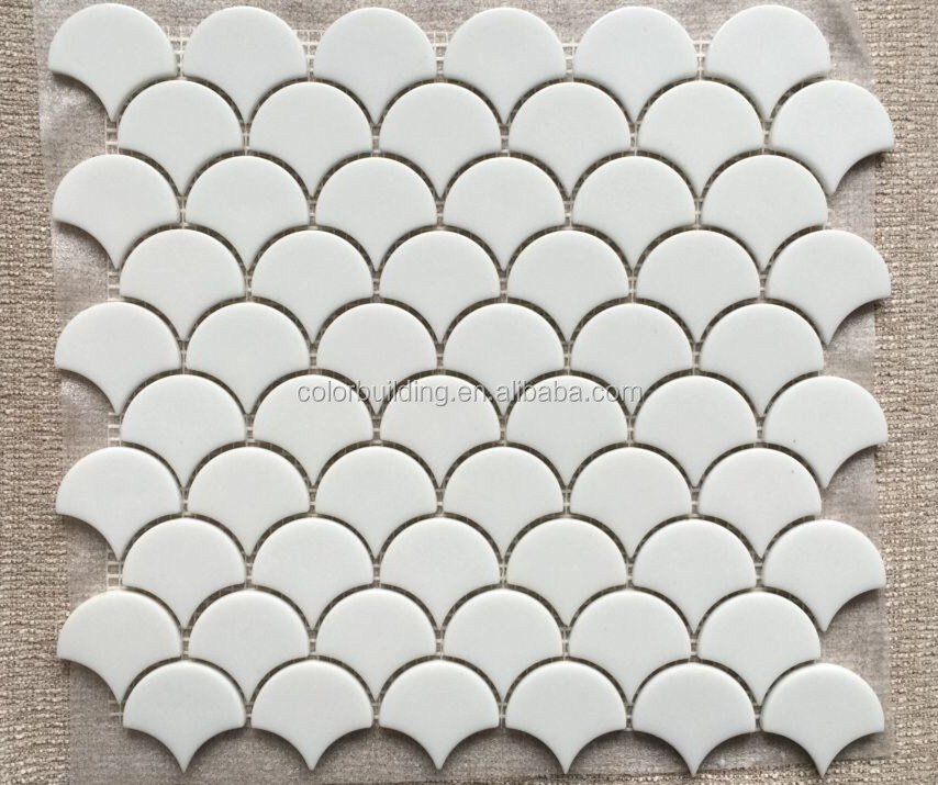 Glass Fish Scale Tile Design Backsplash Mosaic Fan Shape