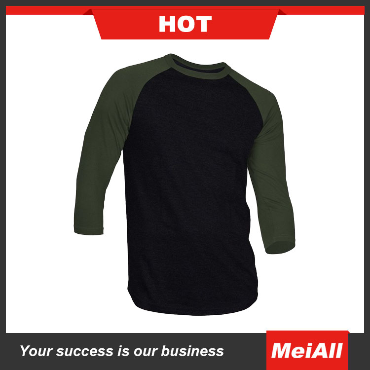 2016 colors mens basketball t-shirt 3/4 sleeves soft cotton t-shirt bulk
