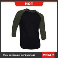 2016 colors mens basketball t-shirt 3/4 sleeves soft cotton t-shirt bulk