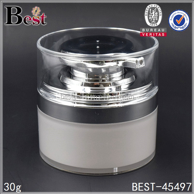 30 ml white pearl acrylic jar with airless dispenser