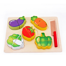 Children pretend play toys kitchen play toys wooden fruit food cutting toys