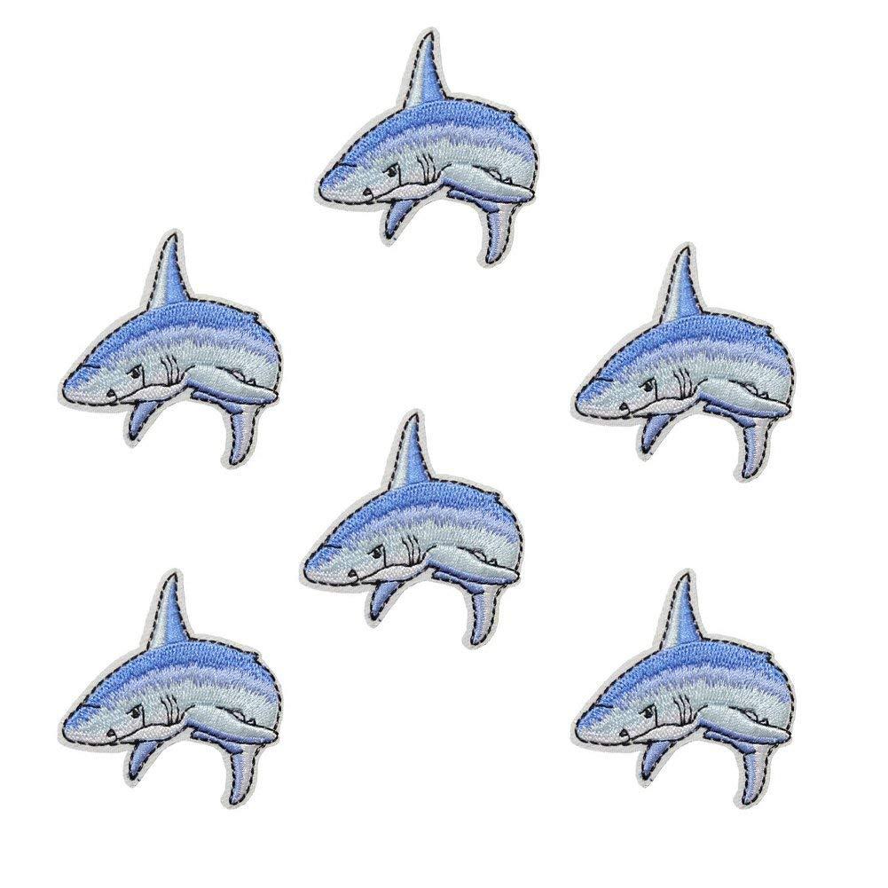 "XUNHUI Embroidery Patches Shark Applique Patches Cartoon Embroidery Applique Patch 6 Pieces 2.2""X2.4"