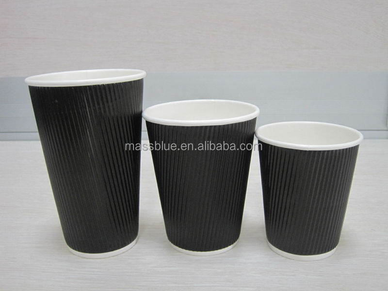 Disposable Paper Cup Ripple Striped Tea Coffee Hot Drink Paper Cups