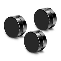 fashion Personality jewelry black plastic men magnetic earrings