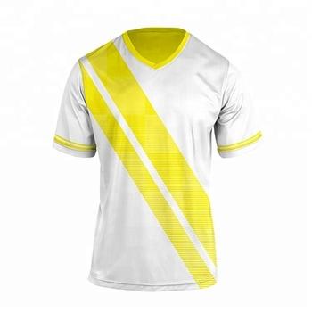 db03a5264bb24 Soccer jersey manufacturer custom design yellow white football uniform