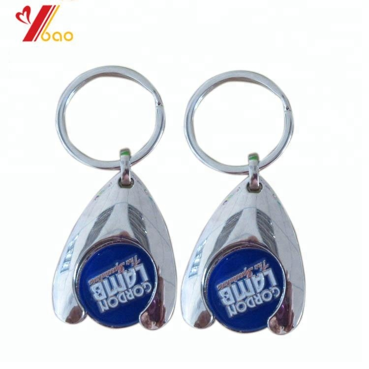 Customized Promotional Shopping Cart Coin Key chain, Customized wishbone Trolley Coin Key chain
