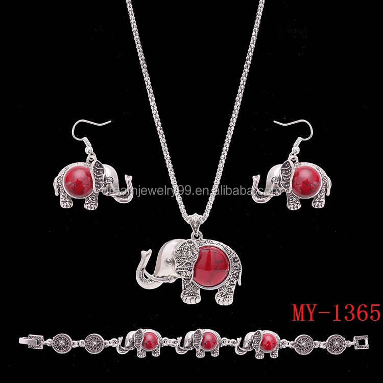 New European and American Turquoise Earrings necklace sets national wind elephant jewelry three sets