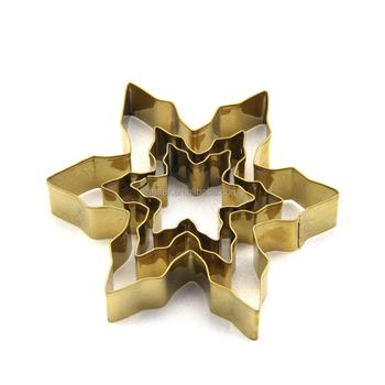 stainless steel christmas snowflake shape cookie cutter metal golden bulk cookie cutters - Metal Christmas Cookie Cutters