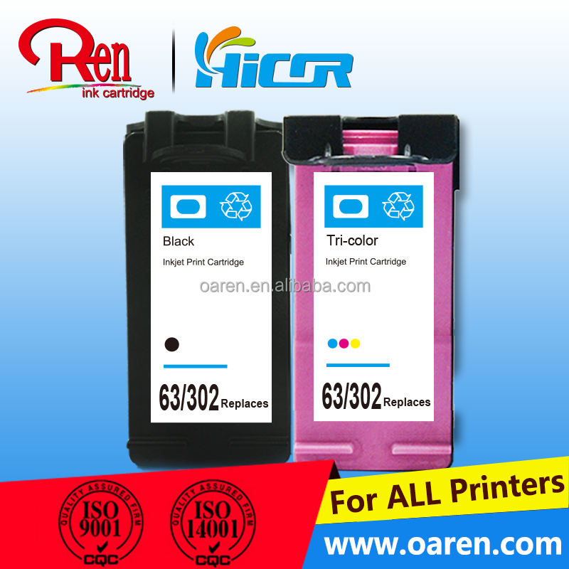 chip reset to full level ink cartridge for hp 302-63 cartouches d'encre compatibles