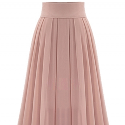 Casual women Spring and autumn leisure fashion pink maxi chiffon skirt