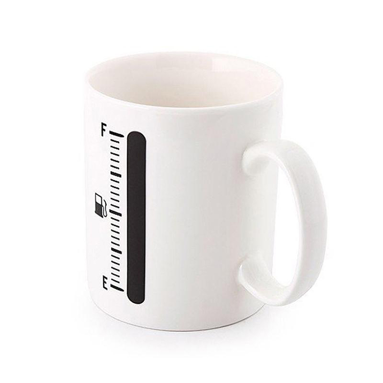 Zogift 2018 Fuel Gauge Heat Sensitive Cup Thermometer Mug Ceramic Cup Color Changing Magic Coffee Mug