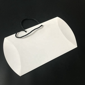 Custom Matt white thick pillow box for scarf and kids clothing with handle