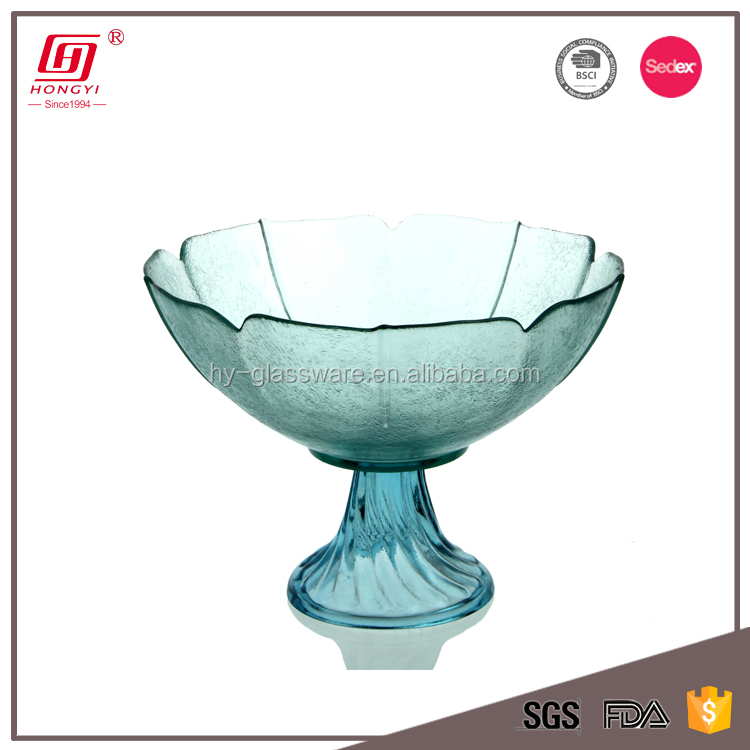 New goods custom design decorative large round blue crystal glass fruit tray