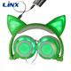 New model 2017 most popular cat ear wired headphones without mic for mp3