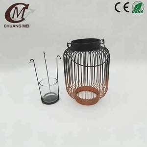CM6258B Factory hot sale black line iron candle holder lantern