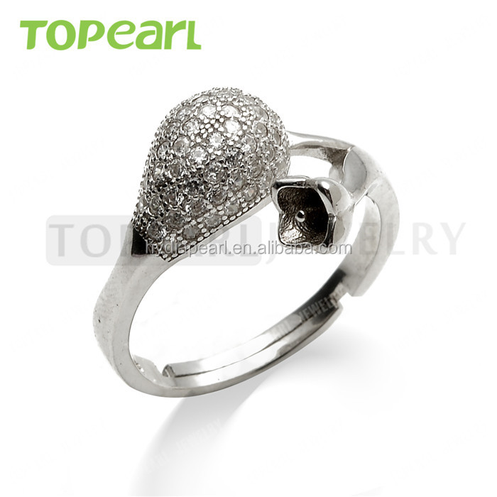 Topearl Jewelry 925 Sterling Silver CZ Studded Fancy Design Adjustable Ring Mountings Jewelry Findings & Components 9RM32